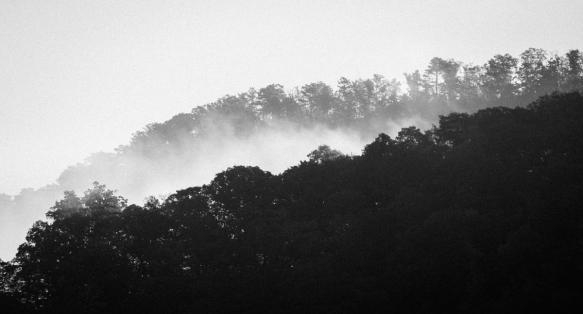 Mist along mountain ridge