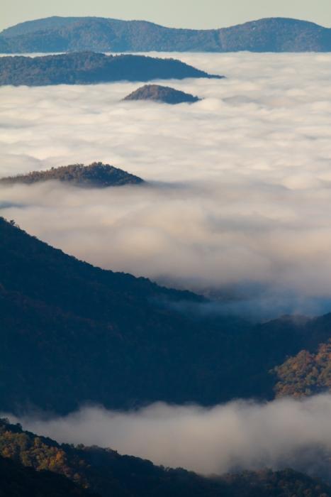 Ocen of clouds in valley below Blue Ridge Parkway