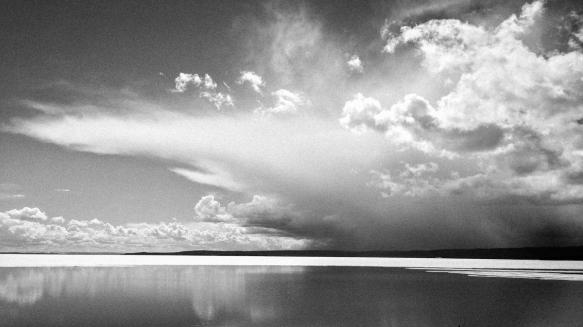 cloud over lake bandw