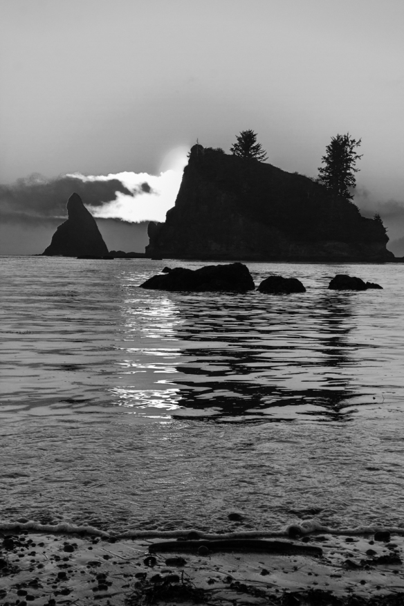 Sea stacks at sunset B and W