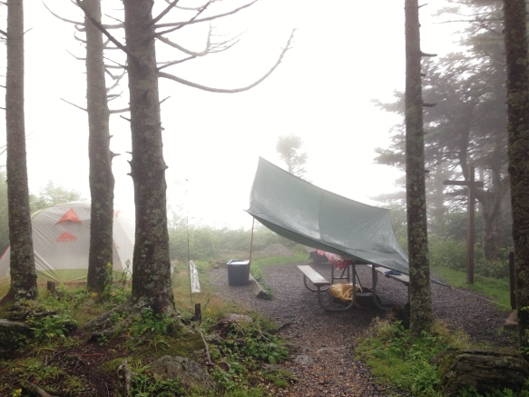 View from camp in fog, rain, and wind
