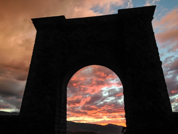 sunset at Roosevelt Arch