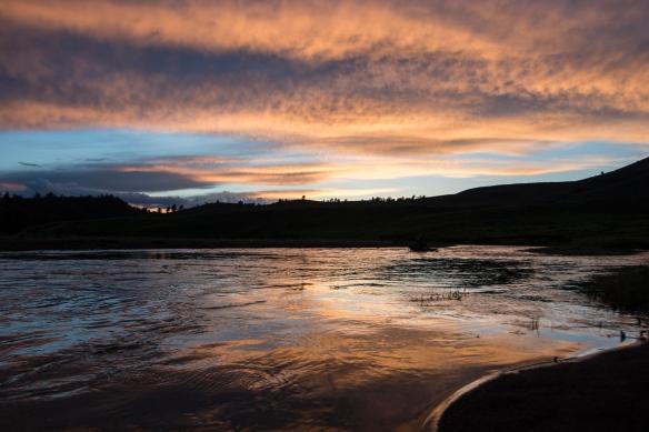sunset along Lamar River