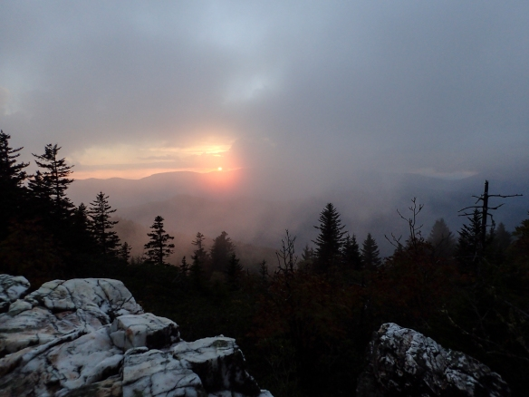Sunset from Shining Rock as mist rolls in