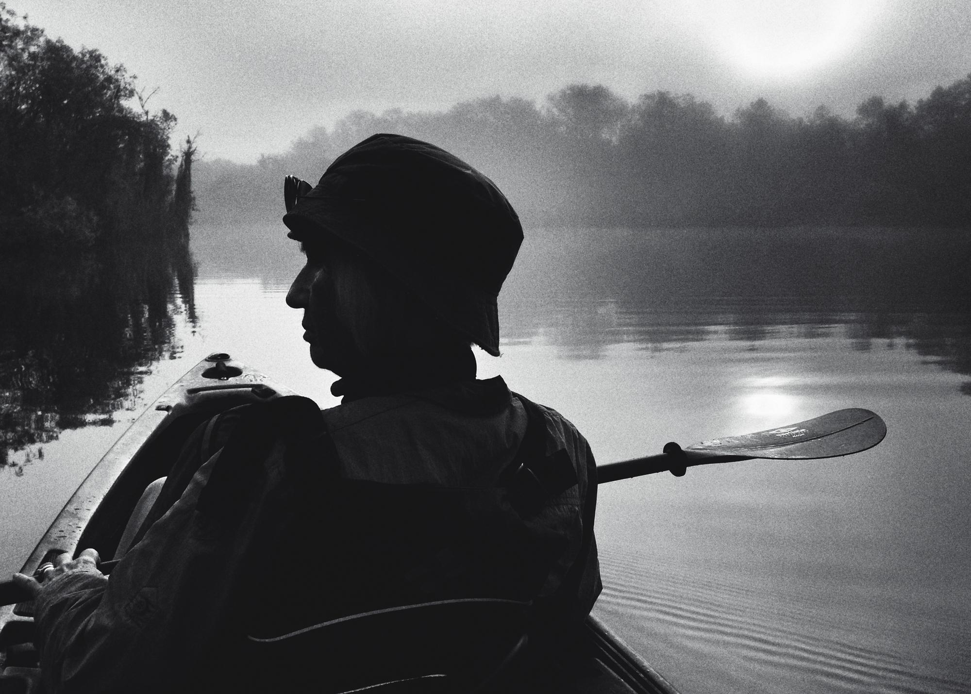 Mary Ann on sunrise canoe trip on Turner River, FL